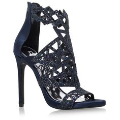 Carvela Kurt Geiger Gwyn Heeled Sandals ($115) ❤ liked on Polyvore featuring shoes, sandals, open toe sandals, navy sandals, navy strappy sandals, strappy sandals and navy blue shoes
