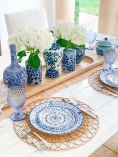 Corelle Dishes, Art Pass, Fashionable Hostess, Jar Centerpieces, Blue Color Schemes, Spring Party, Table Centers, Ginger Jars, Blue Accents
