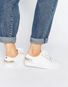 080aec2906e04 Shop Tommy Hilfiger Jeanne White Leather Sneakers at ASOS.