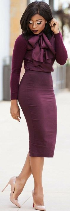 Monochromatic head-to-toe purple is amazingly beautiful for the office. | Office Inspiration: 50 Not Boring Outfits to Wear to Work