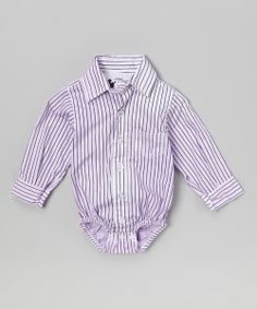 Take a look at the Lavender Pinstripe Button-Up Bodysuit - Tamara Mauro