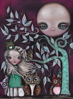 Night Creatures by Abril Andrade Big Eye Girl Owls Canvas Art Print