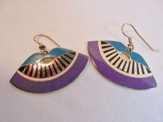 Vintage Laurel Burch Earrings Turquoise/Lavender/Black Enamel Gold Plated Tone!! #LaurelBurch #Dangle