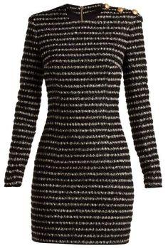 f182f7b9fcc BALMAIN Buttoned knit mini-dress Dress Woman f