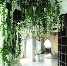 6pcs Romantic Silk Wisteria Artificial Hanging Flowers Hanging Fake Flower for Wedding Party Home Garden Decoration Purple White