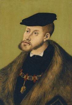Lucas Cranach , the Elder Portrait of the Emperor Charles V 1533 Oil on panel. x 36 cm Museo Thyssen-Bornemisza, Madrid INV. Spanish Netherlands, Tudor Monarchs, Lucas Cranach, Renaissance Portraits, Renaissance Paintings, Holy Roman Empire, Roman Emperor, Glamour, 16th Century