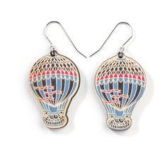 Wooden Hot Air Balloon Earrings $49.95