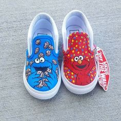 Sep 2019 - Custom hand painted Vans with Elmo and Cookie Monster. Cost of shoes included in the price. Process takes weeks to complete order depending the artists work load. Extra fee applied for rush orders. Please message us for any questions. Disney Painted Shoes, Painted Canvas Shoes, Custom Painted Shoes, Disney Shoes, Painted Vans, Hand Painted Shoes, Vans Slip On Shoes, Custom Vans Shoes, Vans Sneakers