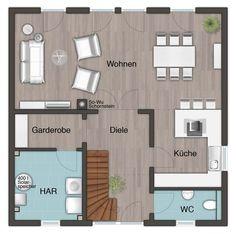 Wohnfläche Erdgeschoss, der Hausenergieraum muss aber in den Keller. Oder es wird ein Hauswirtschaftsraum