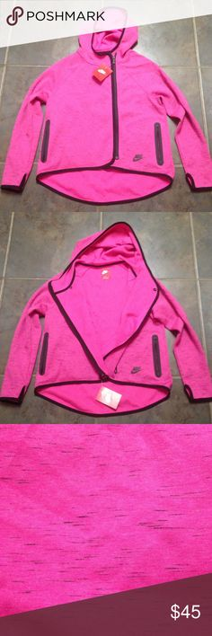 Pink and black Nike zip up. This is a GIRLS LARGE jacket, but I bought it for myself and it fits like a small on me. It has thumb holes and a curved hem. Pink and black Nike zip up. Offers welcome! Nike Jackets & Coats