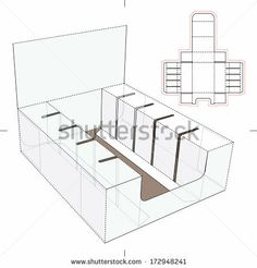 Product Display and Advertisement Cardboard Stand with Blueprint Layout - stock vector