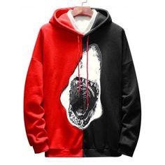 2b46843cc2 Contrast Color Shark Print Hoodie #Fashion #Mens #Men #Red