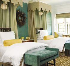 Twin beds with canopies