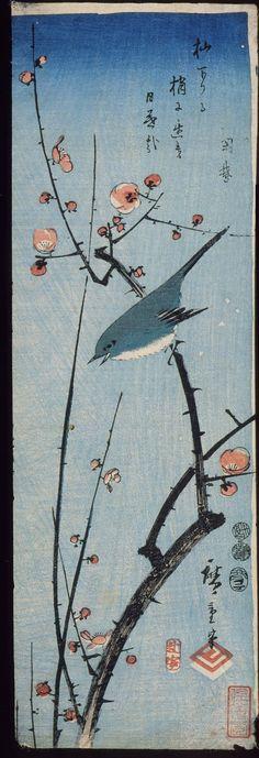 Warbler on Red Plum Branch by Utagawa Hiroshige (1797-1858)