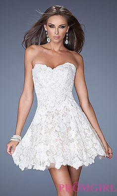 Short Strapless Sweetheart Lace Dress by La Femme at PromGirl.com