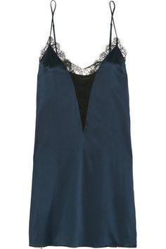 Kiki de Montparnasse | Leavers lace-trimmed stretch-silk satin chemise | NET-A-PORTER.COM