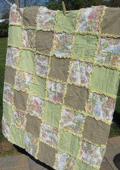 Mother Goose Rag Quilt Baby Blanket 36x42 in by FrayedFuzzies, $50.00