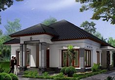 Modern minimalist home design 1 floor - The house is a person's basic needs to be used as a residence. Unique House Design, Tiny House Design, Style Bali, One Storey House, Modern Minimalist House, Build Your Own House, Bungalow House Design, Classic House, Architect Design