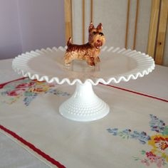 Milk glass cake stand. Hobnail glass. Ruffled edges. An all occasion cake…