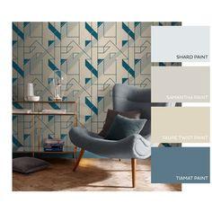 Graphic Cobalt Wallpaper | Soft Gold Geometric Wallpaper Gold Geometric Wallpaper, Inspirational Wallpapers, Blue And Silver, Cobalt, Graham, Dining Room, Interior Design, Bedroom, Brown