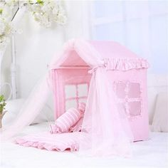 Luxury Pet Tent - Pink Puppy Supplies, Bed Tent, Designer Dog Clothes, Dog Items, Pink Bedding, Sheer Curtains, Dog Design, Cool Cats, Small Dogs