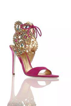 Rene Caovilla ~ Spring Sandal Heels w Crystal Embellishments Fuschia 2014 cea8df258b