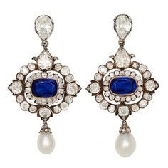 Victorian Burma Sapphire Diamond Natural Pearl Earrings. Great Britain, 1885.