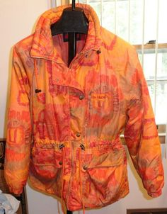 Women's Winter Jacket Made in Italy Nordica Sz L Orange Gray Ski Snow Warm #Nordica #BasicJacket