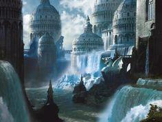 Fantasy City world art. Fantasy City, Fantasy Castle, Fantasy Places, Fantasy Kunst, Sci Fi Fantasy, Fantasy World, Fantasy Books, Final Fantasy, Fantasy Forest