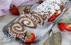 Underbar Chokladbollsrulltårta som verkligen går hem till både stora och små!