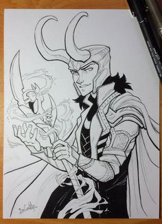 Inktober day 9 - Loki by nary-san - Visit to grab an amazing super hero shirt now on sale!