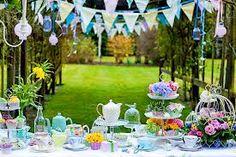 An outdoor English garden party