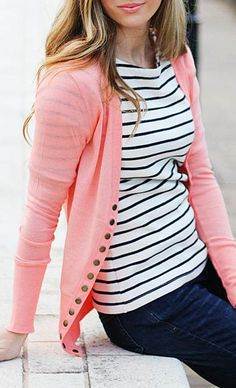 So Perla Blush Long Button Cardigan - love the black and white / pink combo, and all those buttons
