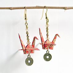 Christmas in July,Origami Earrings,Origami Cranes,Stocking Stuffer,Gifts for Her,OOAK,Red,Gold,Japanese Paper,Paper Art,Vicki Bolen