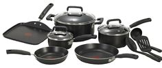 T-fal C111SC Signature Nonstick Thermo-Spot Heat Indicator Cookware Set, 12-Piece, Black * Want additional info? Click on the image.
