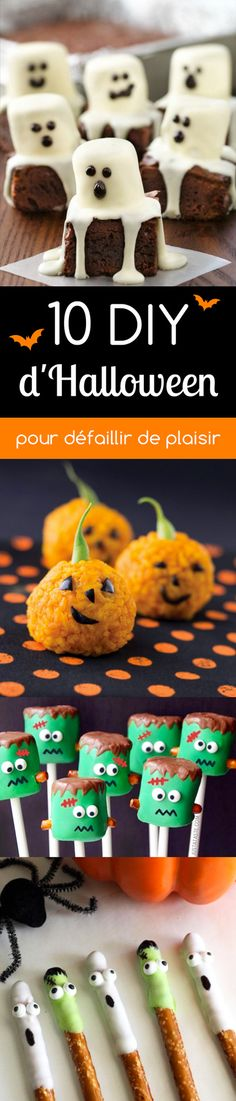★ 10 DIY Halloween to faint with pleasure! Bricolage Halloween, Diy Halloween, Classroom Halloween Party, Manualidades Halloween, Happy Halloween, Halloween Parties, Halloween Appetizers, Halloween Desserts, Halloween Treats