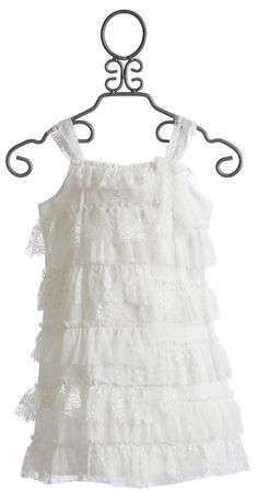 Ivory Lace Girls Dress with lace covered straps, lace bow and ruffles