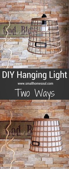 The design possibilities are endless to create your own beautiful DIY Hanging Light from a wire basket, a light kit, and a few supplies. Leave it open and artistic, or line it for a softer glow…www.smallhomesoul.com