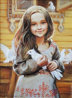 """""""My Dear"""" -- by Olga Simonova Russian); girl in dovecot with white pigeons Painting For Kids, Art For Kids, Dove Bird, Ukrainian Art, Oeuvre D'art, Vintage Art, Watercolor Art, Art Drawings, Chinese Drawings"""