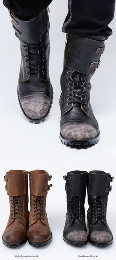 MILITARY VINTAGE CUSTOM-MADE MEN'S BIKER BOOTS.... definitely black. I don't like the brown ones at all.