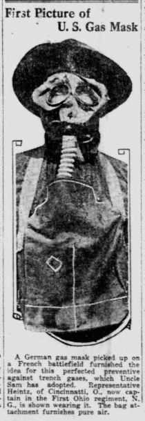 Photograph of the type of gas masks used by United States soldiers during World War 1. The story ran in The Pensacola journal on July 10, 1917.