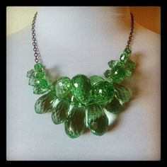 coupon code GIMMEHALF gets you 50% off anything and everything  Green Statement Necklace Oversized Necklace Peridot by waterwaif, $75.00