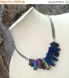 HALF OFF SALE Crystal Point Necklace in Rainbow by CrystalCompass