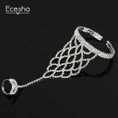 free shipping,Find best whole saleEcesha Trendy Net Mesh Hand Chain Bracelet Hand Harness Crystal Slave Bracelets Women Bridal Jewelry Open Cuff Bangle With Rings at wholesale prices from Chinese Bangle supplier - winwin2013 on m.dhgate.com.