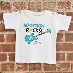 adoption rocks guitar personalized t-shirt. $20.00, via Etsy. Circus Birthday, Boy Birthday, Birthday Parties, Adoption Gifts, Birthday Boy Shirts, Two Daughters, Personalized T Shirts, Kids And Parenting, Party Time