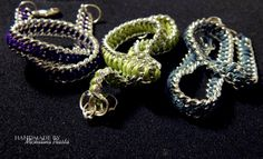 hand-made bracelets from chains and yarn