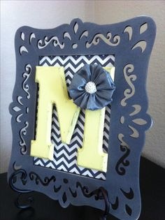 Yellow and gray chevron monogrammed wall hanging for a very special girl's dorm room.