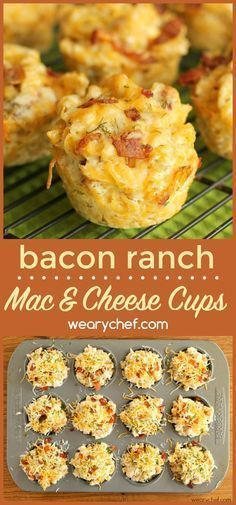 Serve these Bacon Ranch Mac and Cheese Cups at a party or as a dinner side dish. It's a fun and delicious muffin tin recipe! Mac And Cheese Cups, Bacon Mac And Cheese, Mac And Cheese Muffins, Cheddar Cheese, Dinner Side Dishes, Dinner Sides, Party Side Dishes, Dinner Menu, Tapas