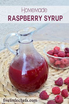 Homemade raspberry syrup is sweet which makes it perfect to put on french toast, pancakes or waffles. It is also delicious on top of a bowl of ice cream. This is an easy recipe to whip up! http://fivelittlechefs.com