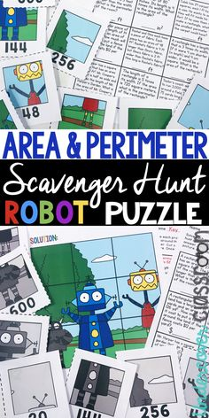 Area and perimeter scavenger hunt activity. Area and perimeter enrichment for upper elementary students. Practice area and perimeter word problems. Students search around the room for puzzle pieces to make a robot puzzle. 4th Grade Activities, Enrichment Activities, 4th Grade Math, Third Grade, Grade 2, Perimeter Of Rectangle, Area And Perimeter, Elementary Math, Upper Elementary